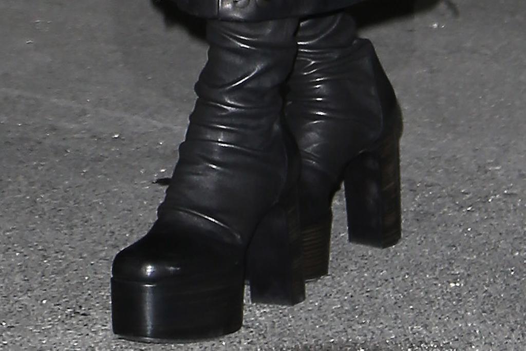 cardi b, coat, sttuds, spikes, leather ccat, boots, platform boots, thigh-high boots, balenciaga, paris, pfw, france