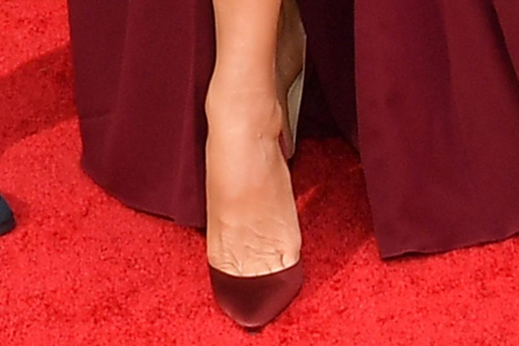 catherine zeta-jones, gown, strapless dress, heels, pumps, red, emmys 2021, michael douglas