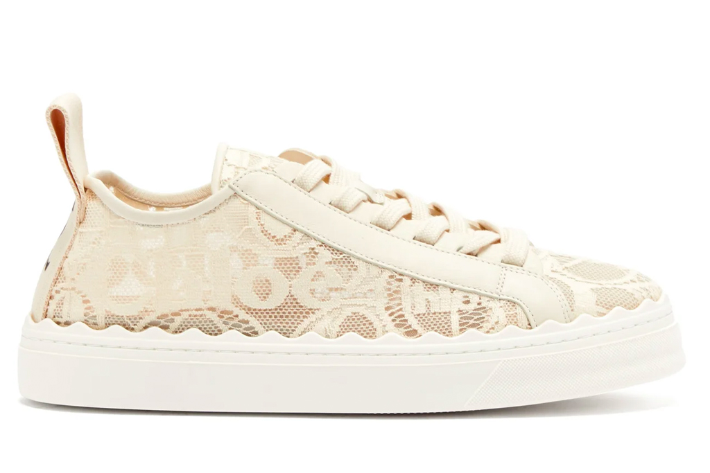 chloe, lace sneakers, shoes