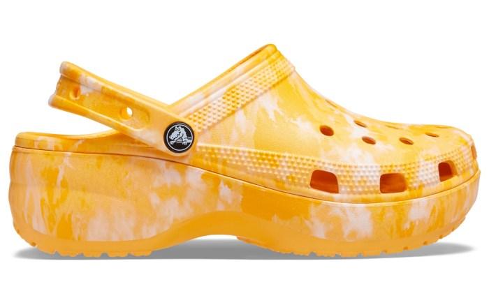 crocs, clogs, orange