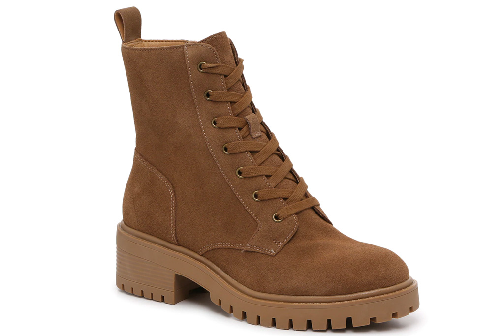 brown boots, suede, combat, crown vintage
