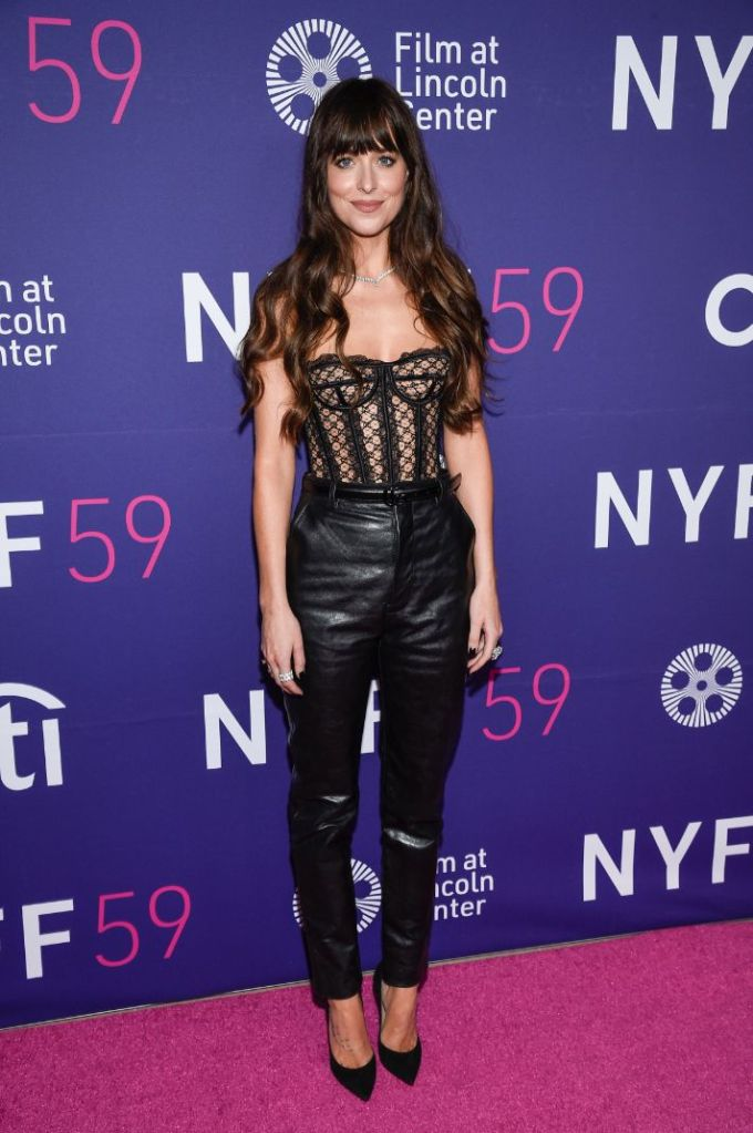 dakota johnson, lace bustier, corset, leather pants, heels, pumps, red carpet, new york film festival, ny, the lost daughter, movie