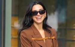 Dua Lipa, NYC, brown coat, knee
