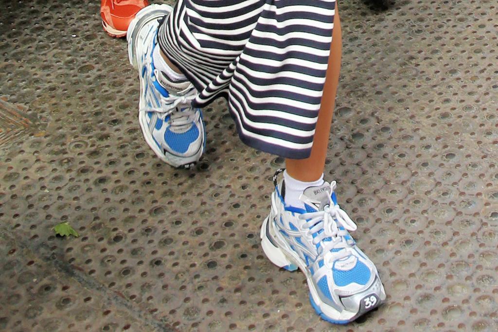 dua lipa, cutout dress, striped dress, sunglasses, sneakers, balenciaga, anwar hadid, lunch, date, ny
