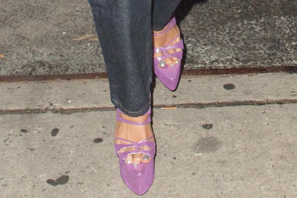 dua lipa, bustier, jean shirt, jeans, denim, canadian tuxedo, purple heels, platforms, anwar hadid, khai birthday, new york