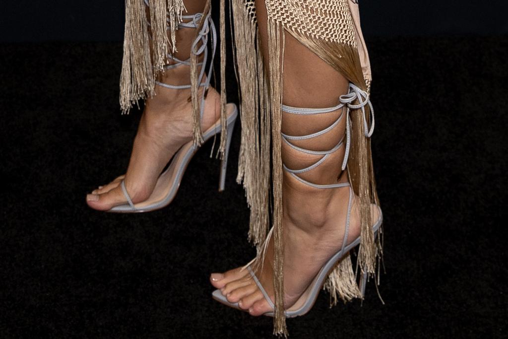 emily ratajkowski, fringe dress, slip dress, heels, savage x fenty, show, amazon, red carpet
