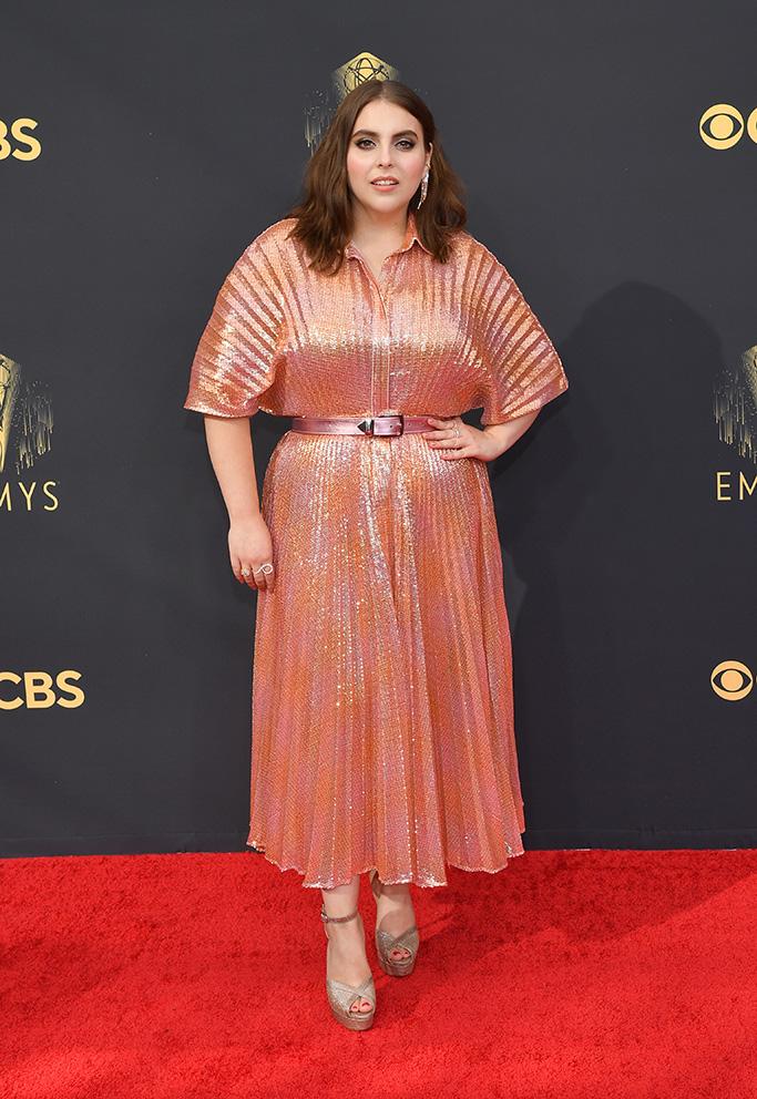 Beanie Feldstein, Christian Louboutin, Brandon Maxwell, Emmy Awards, red carpet