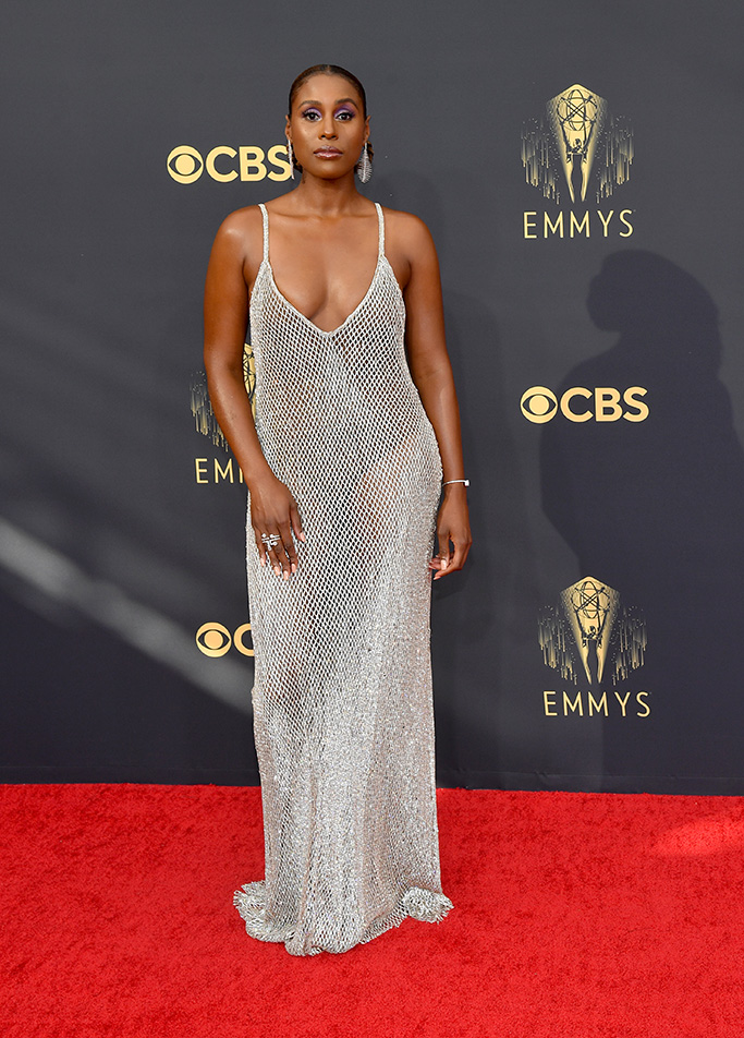 Issa Rae, mesh gown, chain gown, heels, dress, emmys 2021, red carpet
