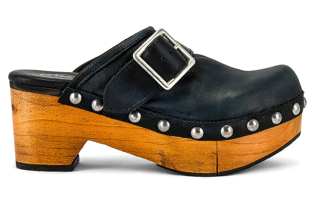 clogs, leather, wood, free people