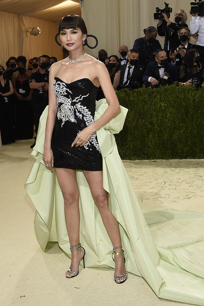 """Gemma Chan attends The Metropolitan Museum of Art's Costume Institute benefit gala celebrating the opening of the """"In America: A Lexicon of Fashion"""" exhibition on Monday, Sept. 13, 2021, in New York. (Photo by Evan Agostini/Invision/AP)"""