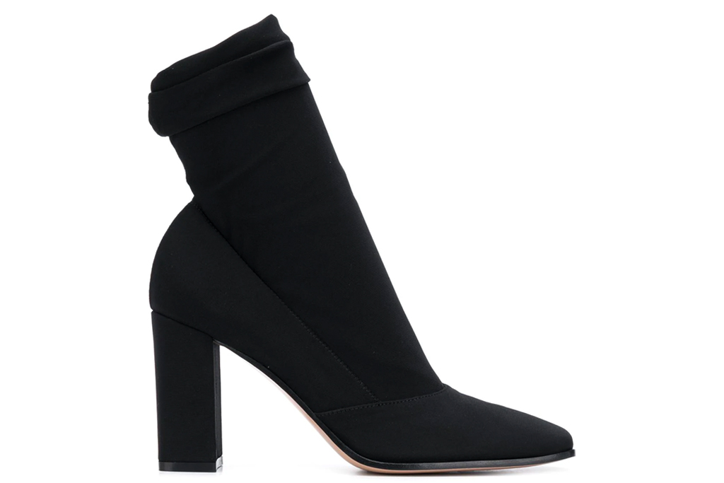 black boots, booties, sock style, gianvito rossi
