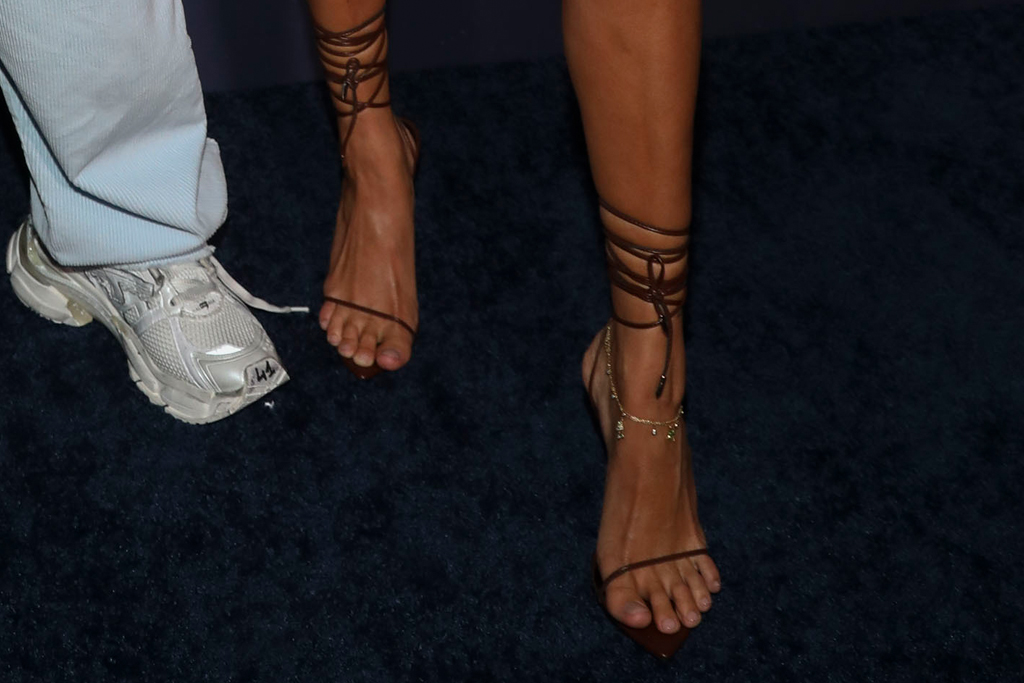 hailey baldwin, dress, minidress, sequins, red, heels, wrap sandals, femme la, justin bieber, movie, amazon, tour, new york, premiere