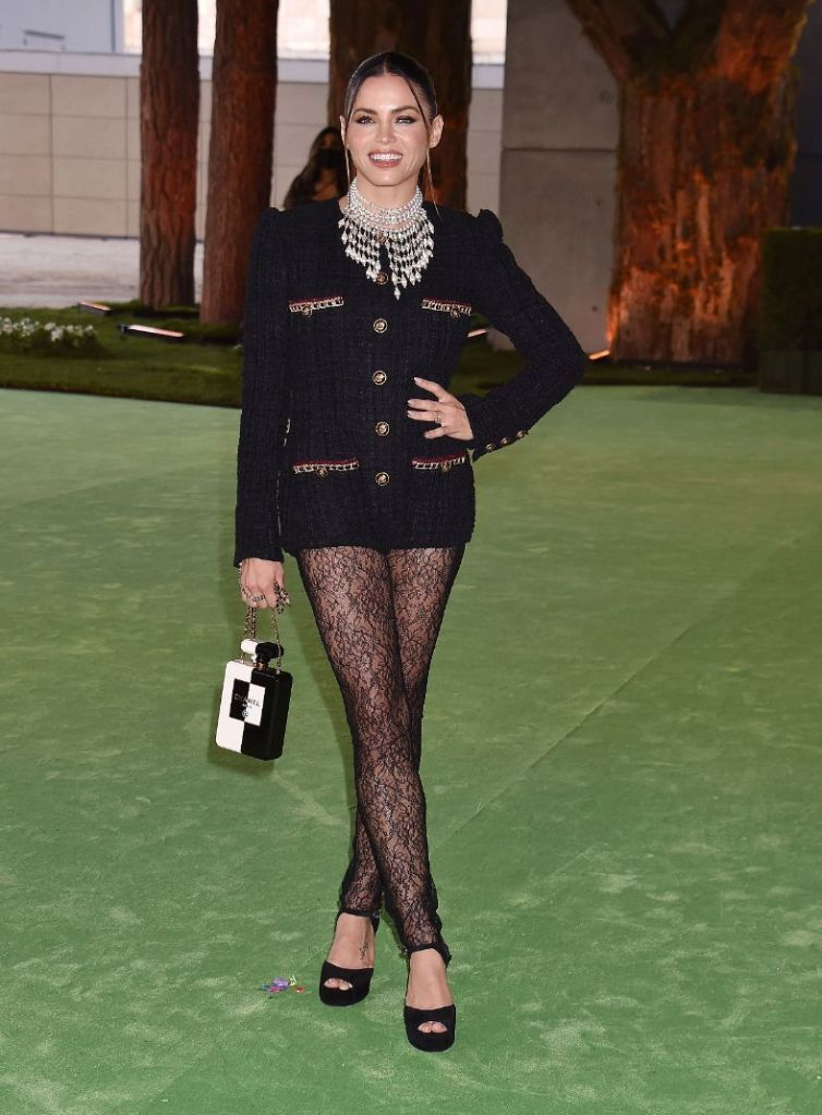 jenna dewan, romper, tights, lace tights, heels, platform sandals, red carpet, necklace, academy museum of motion pictures, gala, la