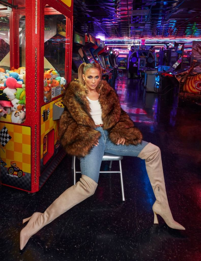 jennifer lopez, boots, thigh-high boots, skinny jeans, fur coat, pink heels, see-through wedges, dsw, jlo jennifer lopez, shoe collection, fall