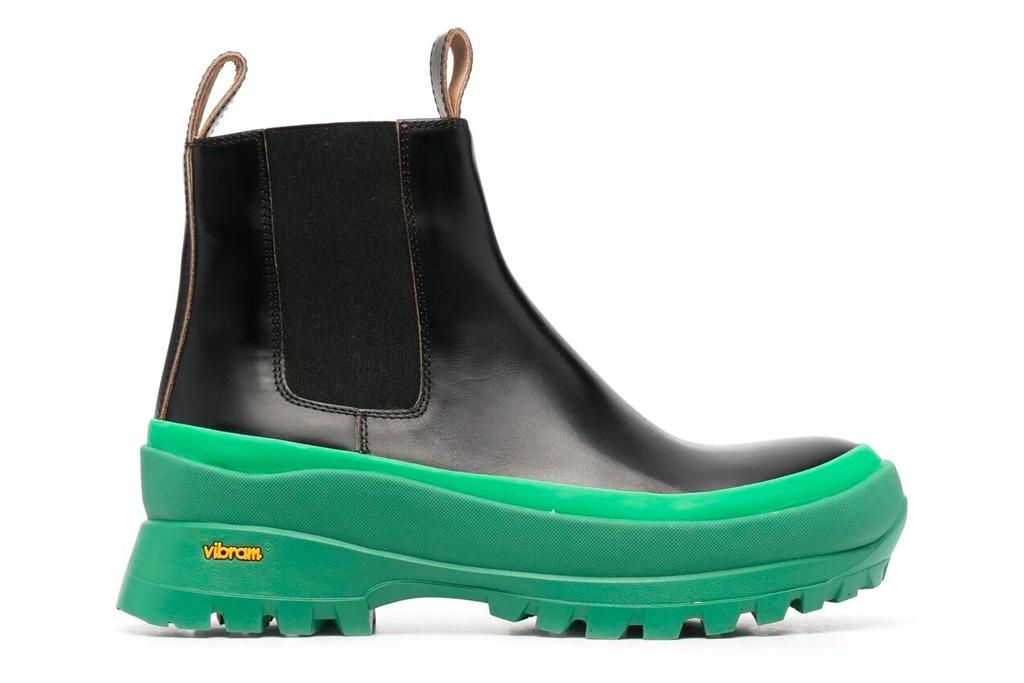 black boots, chelsea, lug sole, green, jil sander