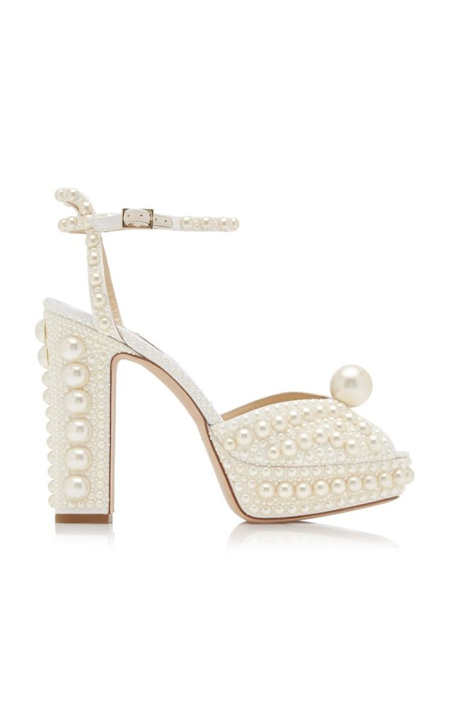 Jimmy Choo Sakarya sandali in raso con perle impreziositi