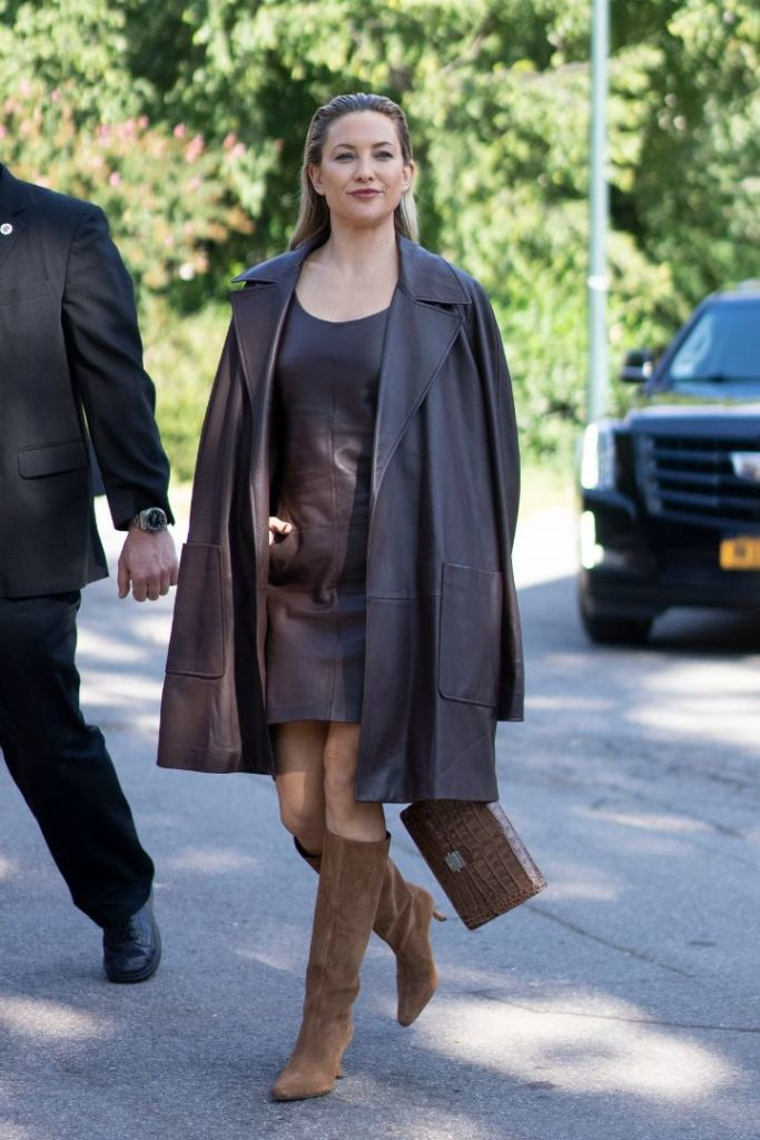 kate hudson, leather dress, leather coat, dress, michael kors, spring 2021, runway show, nyfw, knee-high boots, new york
