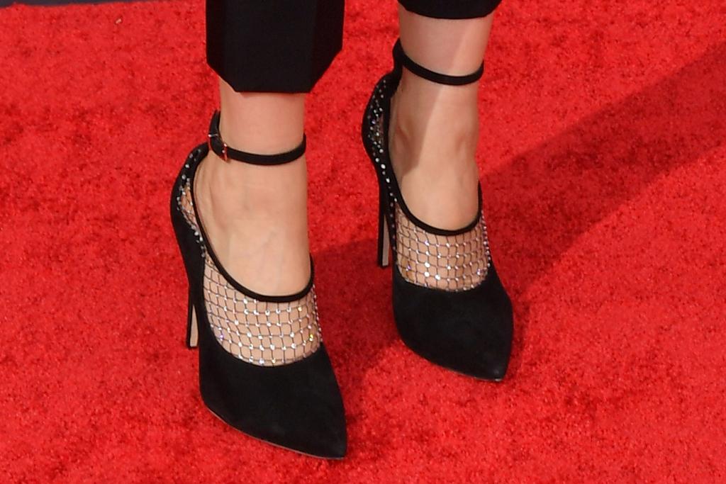 kathryn hahn, strapless top, bustier, pants, heels, fishnet heels, emmys, 2021, red carpet