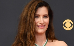 kathryn hahn, strapless top, bustier, pants,