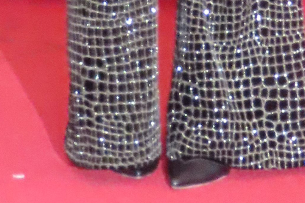 katie holmes, suit, blazer, glitter, pantss, heels, boots, purse, haircut, new york fashion week, christian siriano