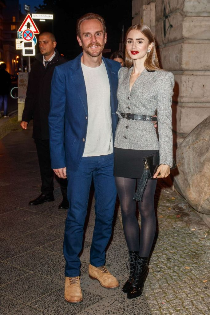 lily collins, skirt, blazer, tights, heels, boots, cartier, event, berlin, germany