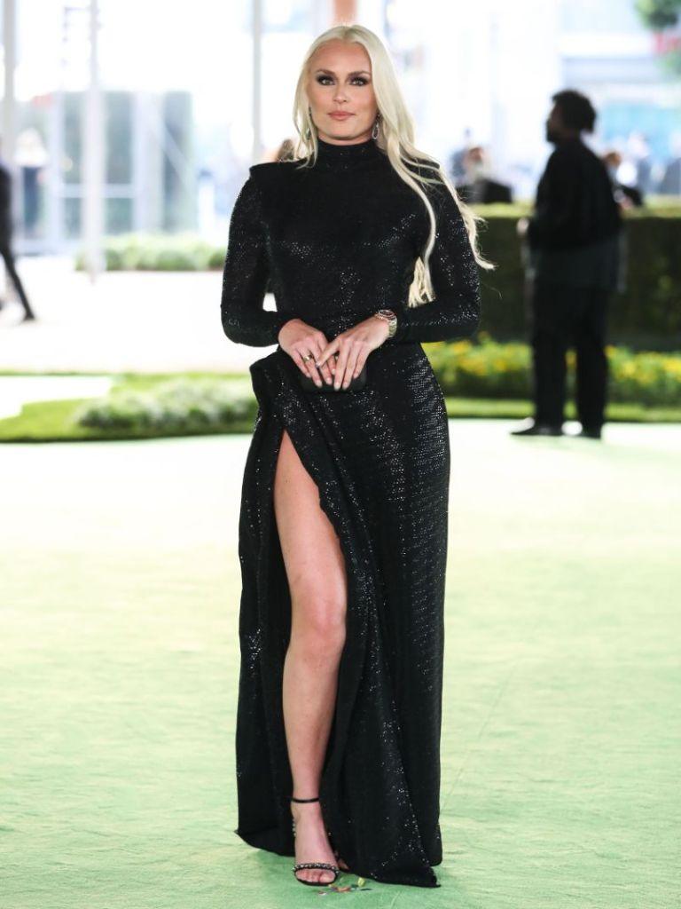 lindsey vonn, gown, heels, high leg slit, gala, academy museum, gala, la, red carpet
