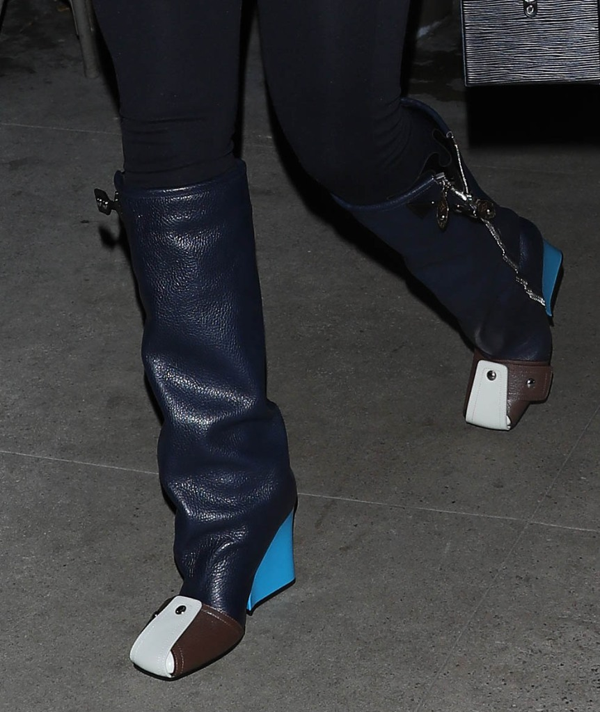 louis vuitton patti boots, blue wedge heel, studsA stylish Lori Harvey heads to Giorgio Baldi for dinner with her parents in Santa Monica. Steve Harvey and wife Marjorie Harvey were also in attendance at the dinner. 04 Sep 2021 Pictured: Lori Harvey. Photo credit: Photographer Group/MEGA TheMegaAgency.com +1 888 505 6342 (Mega Agency TagID: MEGA783820_004.jpg) [Photo via Mega Agency]