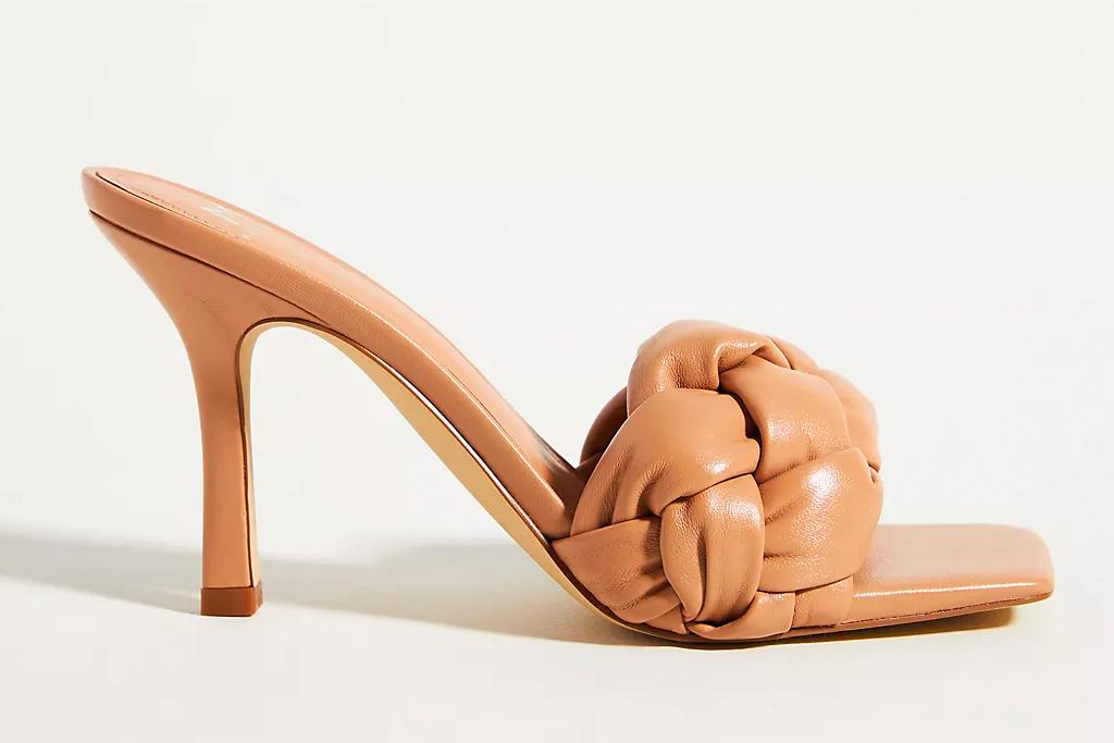 puffy sandals, heels, tan, marc fisher