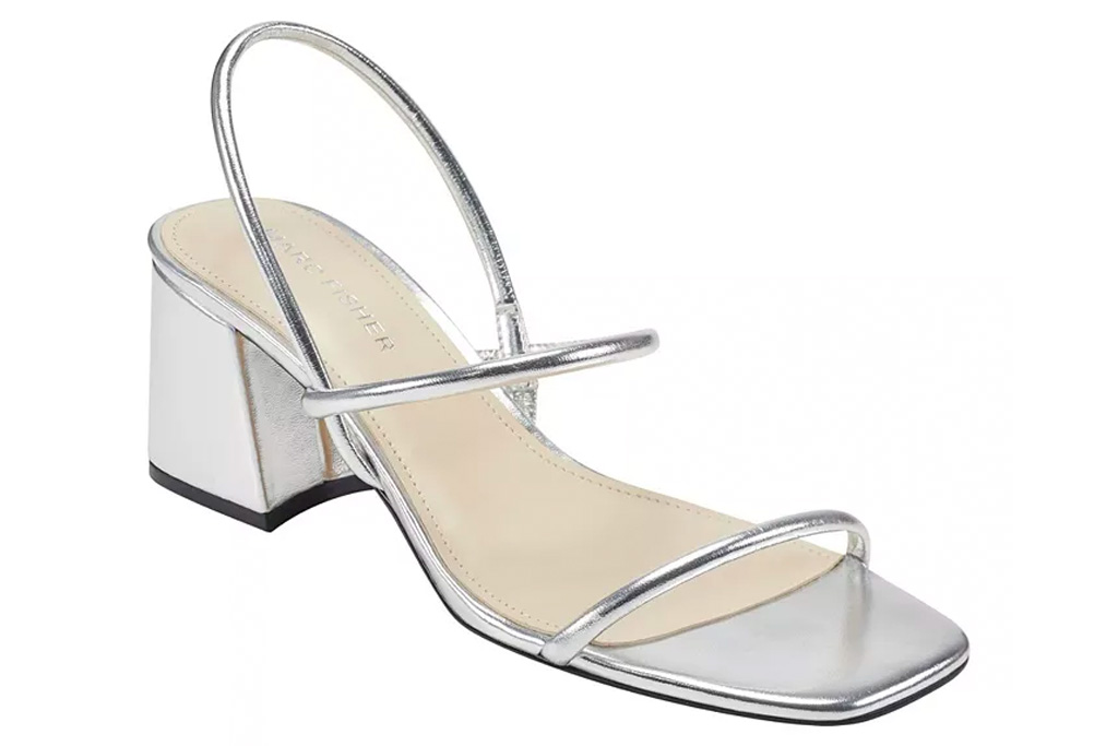 silver sandals, marc fisher