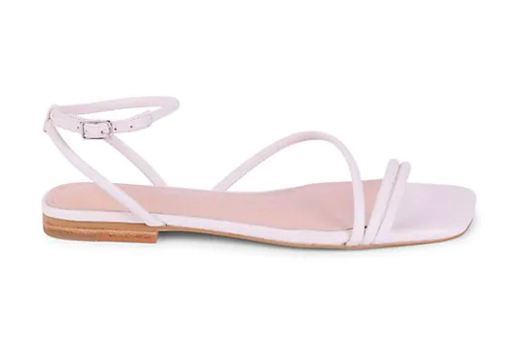 white sandals, square toe, marc fisher
