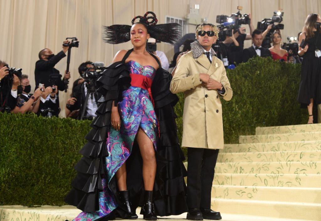 naomi osaka, dress, gown, louis vuitton, japanese, haitian, cordae, met gala