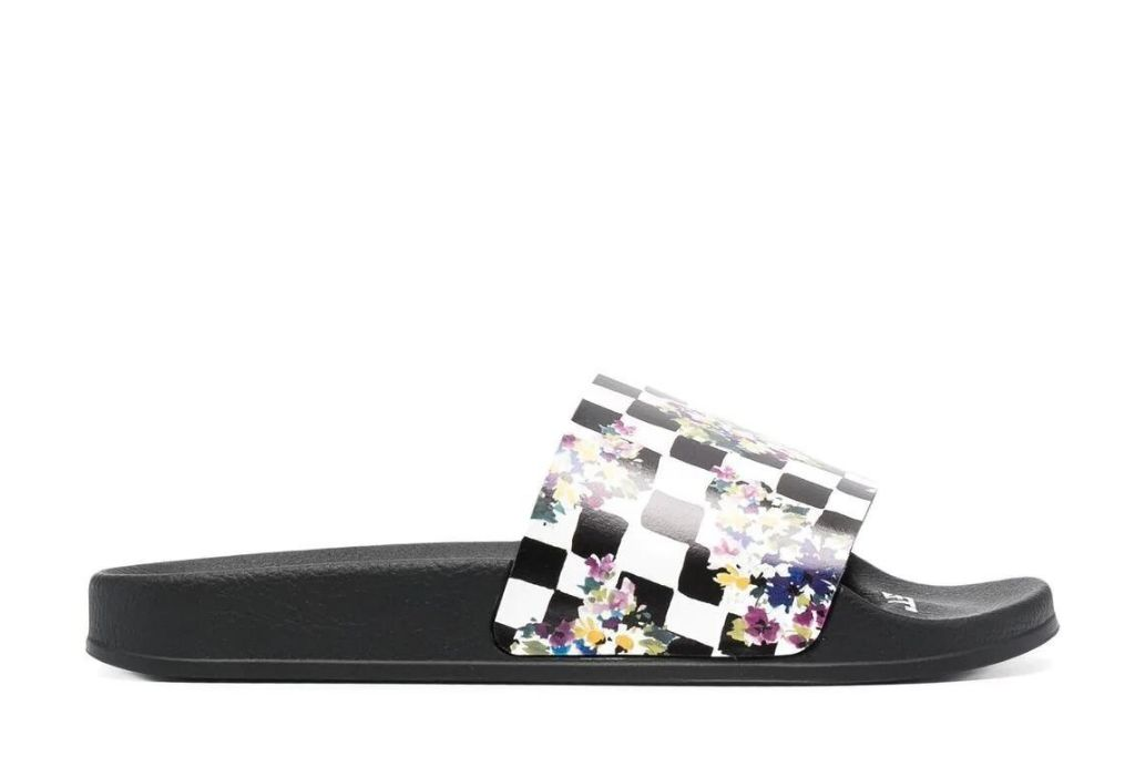 Off White floral checkerboard slides