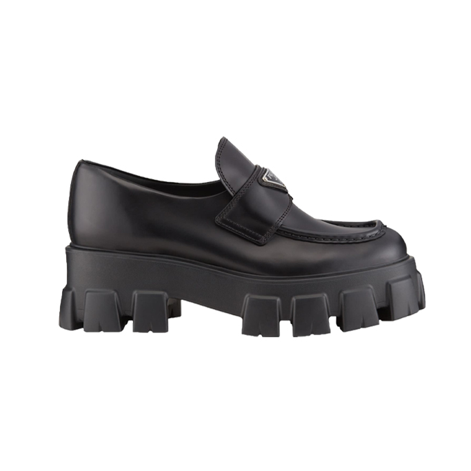 Prada Leather Logo Platform Loafers