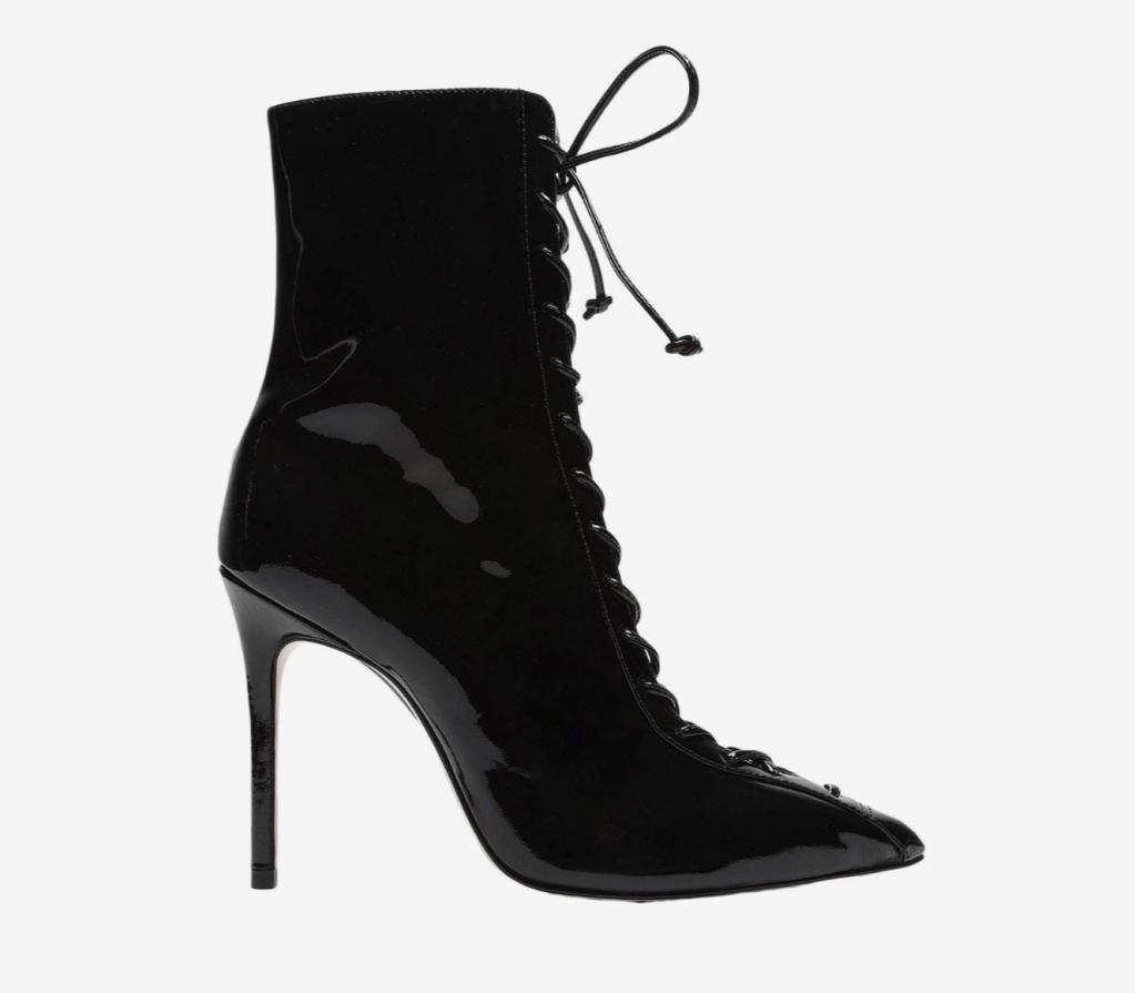 black booties, lace-up, schutz