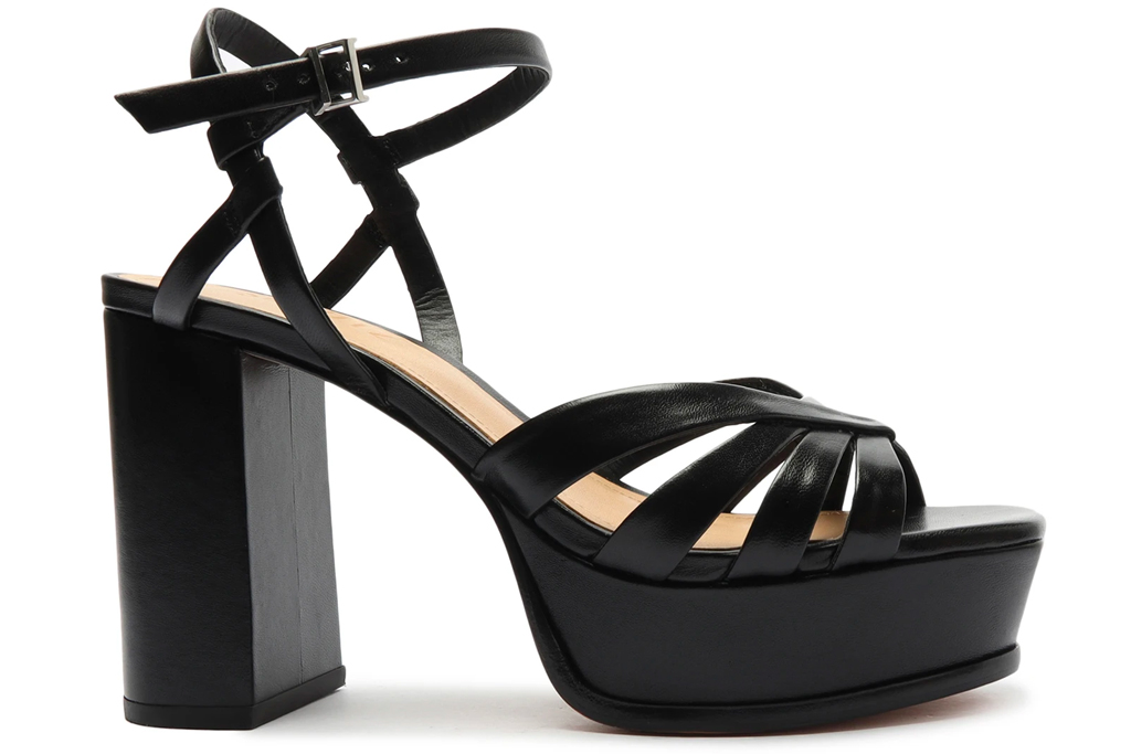 black platforms, sandals, heels, schutz