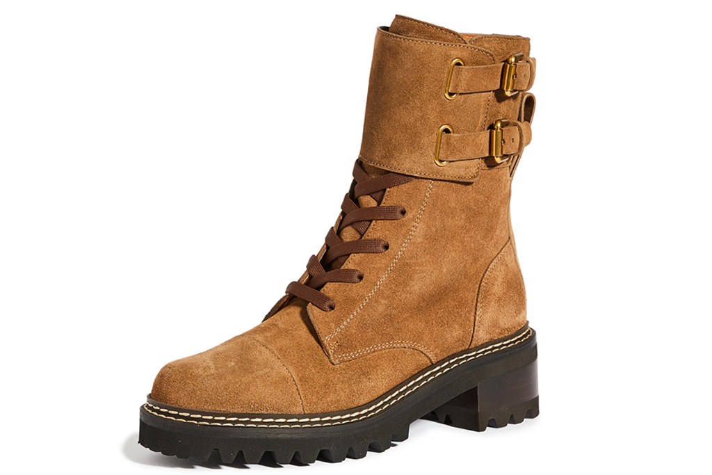 brown boots, suede, combat, see by chloe