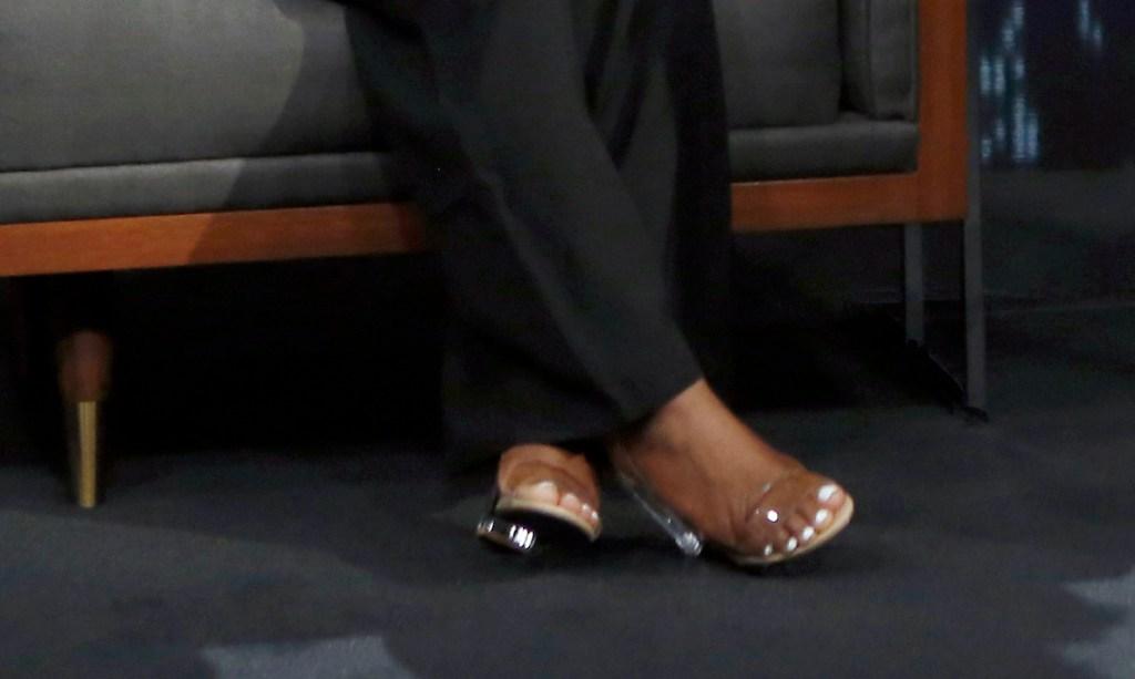 Simone Biles, Jimmy Kimmel Live, clear heel sandals, strappy sandals, jumpsuit, black jumpsuit, strapless jumpsuit