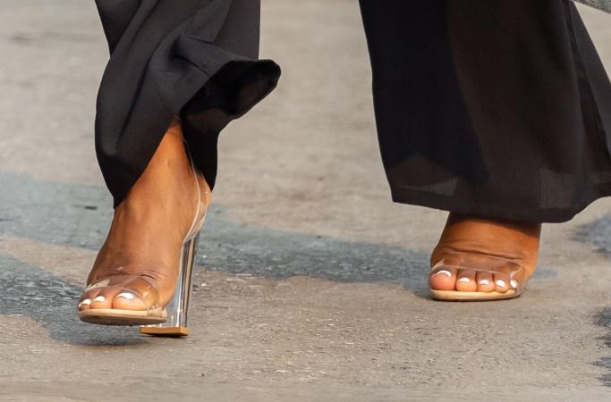 Simone Biles, shoes, clear, block heels, LA, Jimmy Kimmel