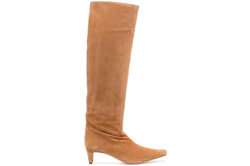 brown boots, knee high, staud