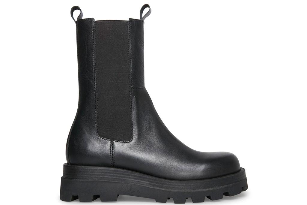 black boots, chelsea, lug sole, green, steve madden