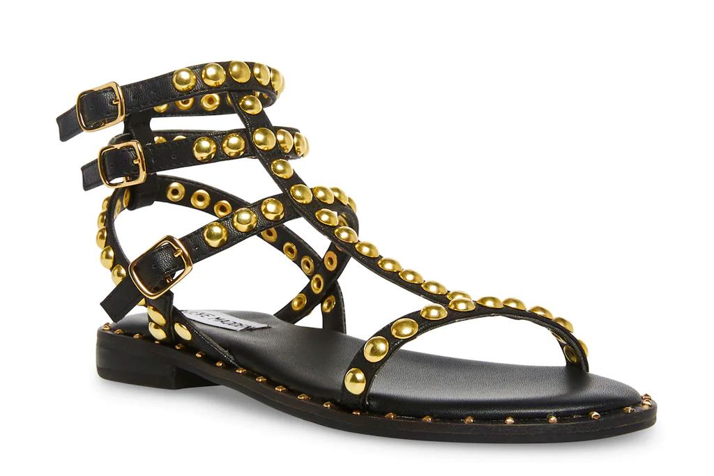 black sandals, gladiator, gold, steve madden