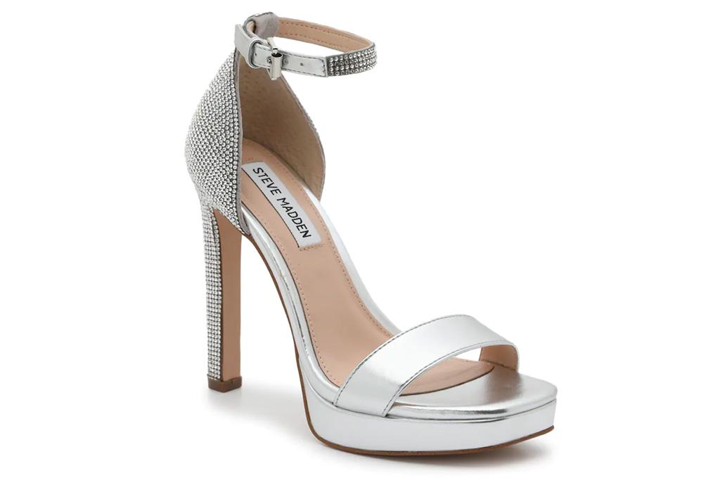 silver sandals, steve madden