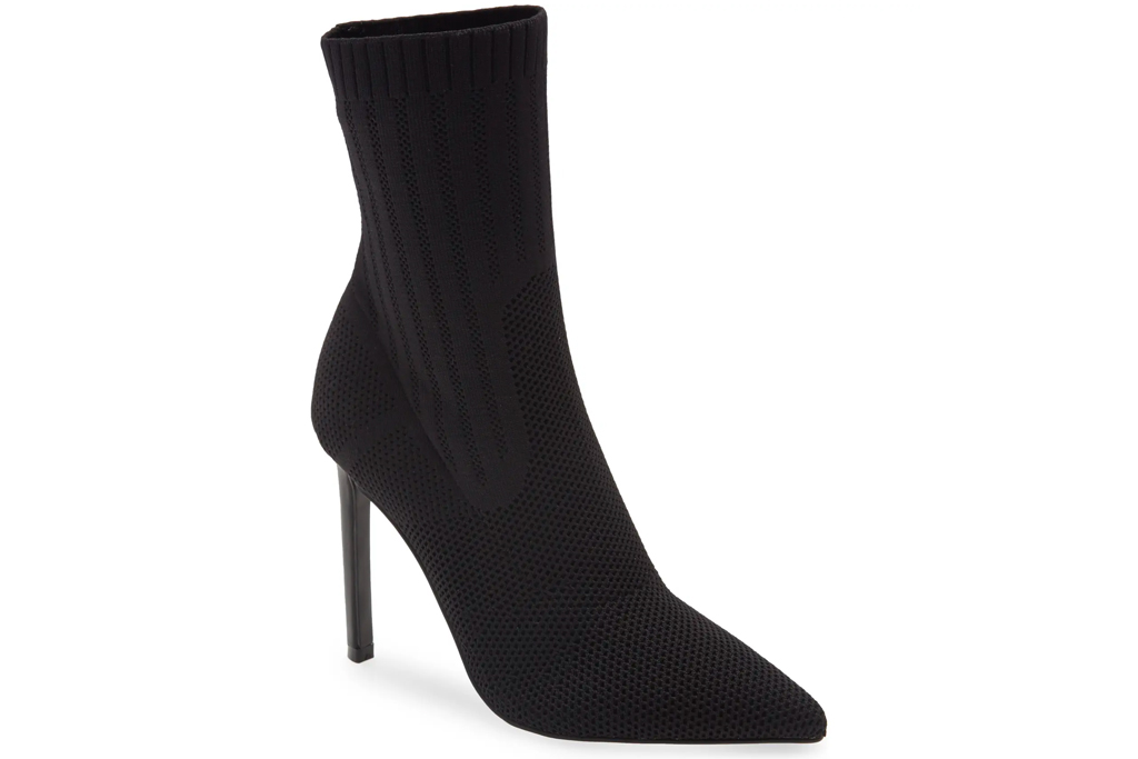 black boots, booties, sock style, steve madden