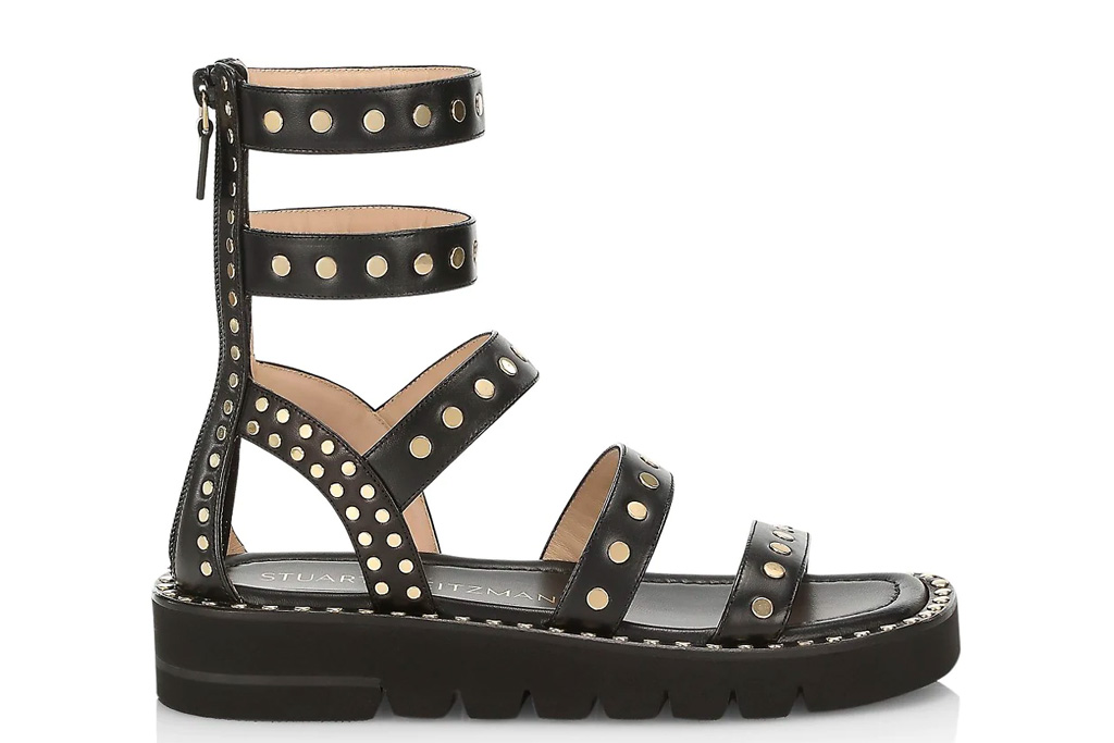 black sandals, gladiator, gold, stuart weitzman