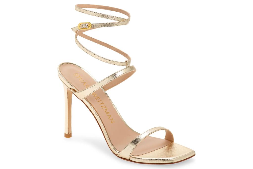 gold heels, sandals, stuart weitzman