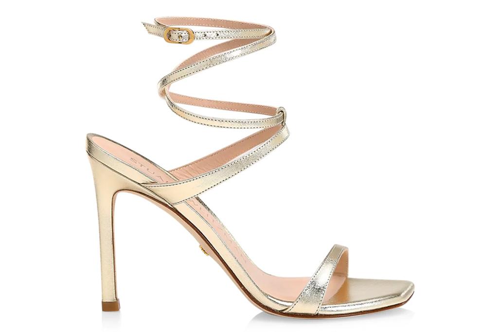 gold sandals, wrap, heels, stuart weitzman