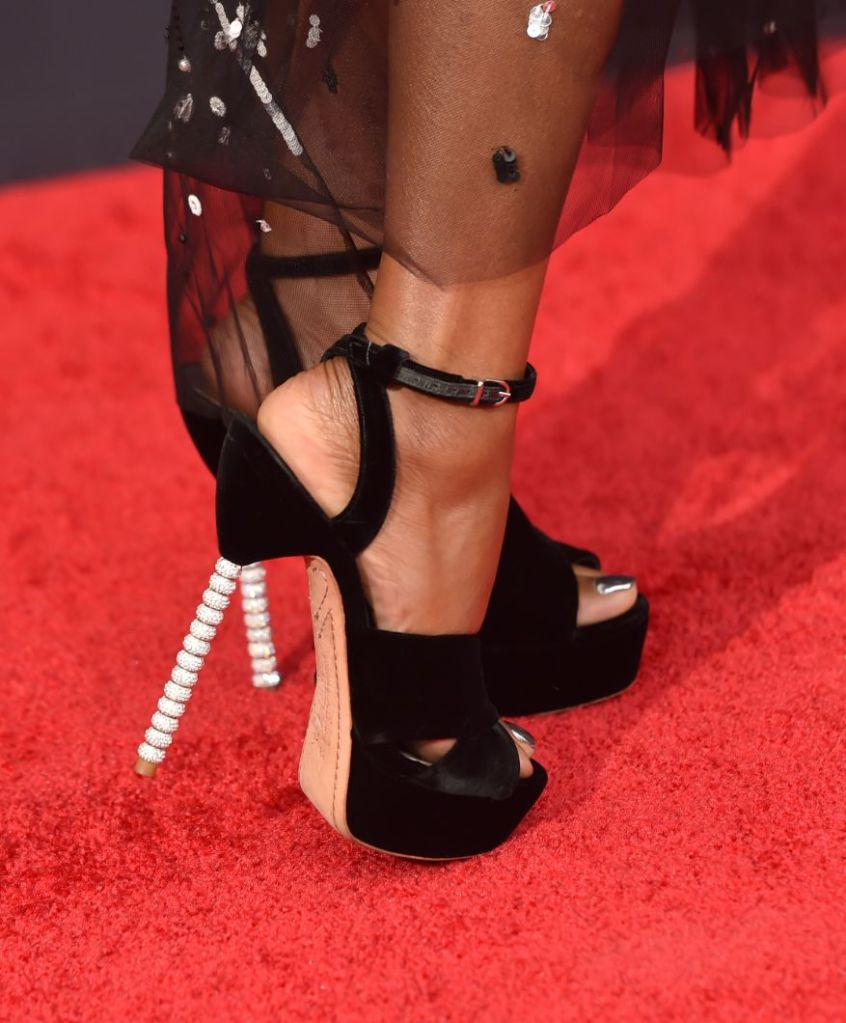 Taraji P. Henson, gown, dress, sheer, emmy awards, heels, pearls, red carpet
