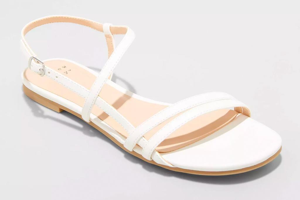 white sandals, square toe, target