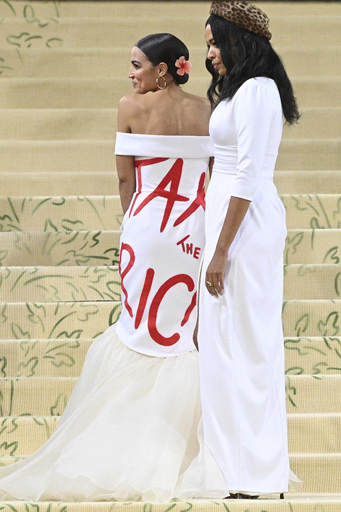 AOC, tax the rich, dress, aurora james