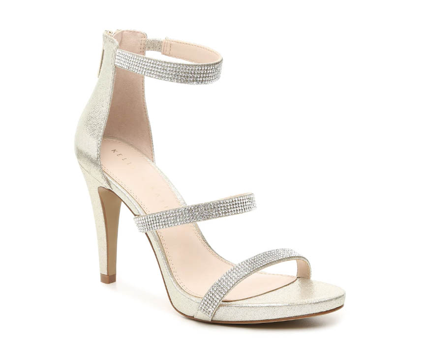kelly and katie, courtnee sandals, triple straps, crystals